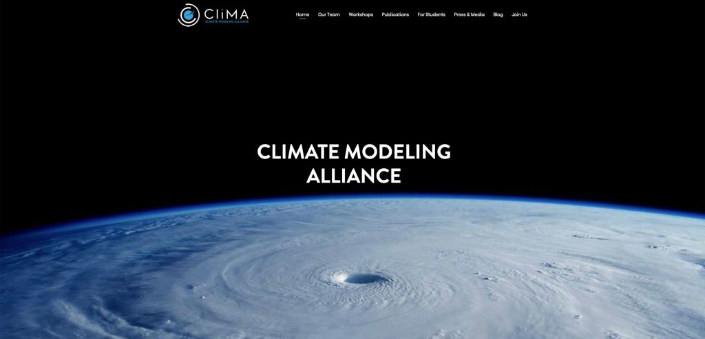 Clima home page screen capture