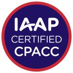 IAAP CPACC circular badge logo for International Association of Accessibility Professionals (IAAP) Certified Professional in Accessibility Core Competencies (CPACC) certification. A dark blue circle with three lines of centered white text that read: IAAP Certified CPACC. There is a smaller red circle that surrounds the dark blue inner circle that designates the CPACC certification color scheme.